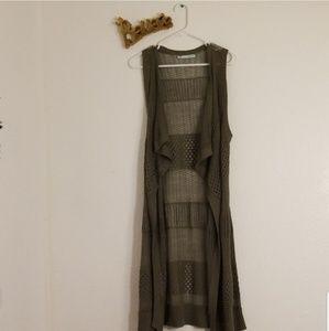 Olive Green Maurices Long Vest Sz Medium